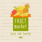 Vector logo for a market of fruits, fruit juice labels. Stock Image