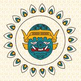 Vector logo. Mask of Khon - Thailand dance drama character. royalty free illustration