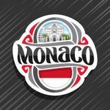Vector logo for Monaco. Country, fridge magnet with monegasque state flag, original brush typeface for word monaco and national symbol - Saint Nicholas stock illustration