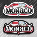 Vector logo for Monaco. Country, fridge magnet with monegasque state flag, original brush typeface for word monaco and national symbol - Saint Nicholas vector illustration