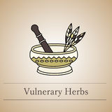 Vector logo of a mortar for herbs. Stock Images