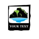 Vector logo mountain with lake vector illustration