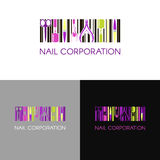 Vector logo for nail design company with business name card and corporate pattern in geometric style Stock Image