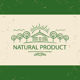 Vector logo natural product. Hand drawn  tree, home and  sun. Fa Royalty Free Stock Image