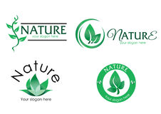 Vector-logo-nature-3. A collection of vector logos with nature theme. The logo design use leaves to picture the nature. Fully editable with any vector program Stock Photography