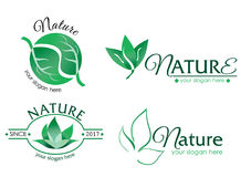 Vector logo nature 2. A collection of vector logos with nature theme. Editable with Adobe Illustrator. The logo consist of leaf images Stock Image
