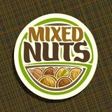 Vector logo for Nuts. Round sign with pile of healthy walnut, australian macadamia nut, sweet almond, forest hazelnut, cracked pistachio and peanut, veg mix Stock Images