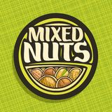Vector logo for Nuts. Circle sign with pile of healthy walnut, australian macadamia nut, sweet almond, forest hazelnut, cracked pistachio and peanut, veg mix Royalty Free Stock Images