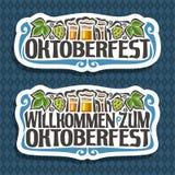 Vector logo for Oktoberfest. On blue diamond background: beer in 3 glass mugs, lettering title - oktoberfest, green leaf hops, text - willkommen zum Royalty Free Stock Photos