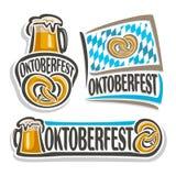 Vector logo oktoberfest. 3 isolated illustrations, pint beer mug with lager and pretzel on white background. Bavarian Oktoberfest pattern flag white blue Royalty Free Stock Image