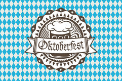 Vector logo for Oktoberfest in the pub or bar during the fest, beer mug with foam filled to the brim Royalty Free Stock Photos
