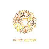 Vector logo and packaging design templates in trendy linear style. Natural and farm honey concepts - label and tag with bees, honeycombs and flowers vector illustration