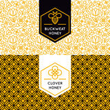 Vector logo and packaging design templates in trendy linear styl. E - natural and farm honey packaging - labels and tags with floral seamless patterns stock illustration