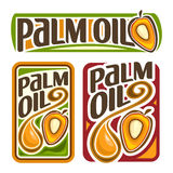 Vector logo Palm Oil. Set labels for cooking palm oil consisting of yellow oily drop, ripe fruit with olein kernel. Vertical and horizontal banners, posters Royalty Free Stock Image