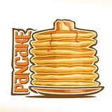 Vector logo for Pancake. Original typography typeface for yellow word pancake, illustration of hotcakes for cafe menu, heap of homemade pancakes on dish Stock Image