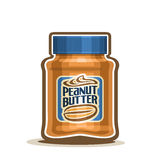Vector logo Peanut Butter Jar with label Stock Images