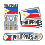Vector logo Philippines. 3 isolated images: vertical banner molo church in iloilo on filipino national state flag, symbol of philippines head of philippine stock illustration