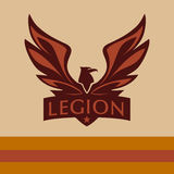Vector logo with a picture of an eagle. Legion.  Stock Photography