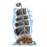 Vector logo pirate sailing ship Royalty Free Stock Photos