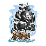 Vector logo pirate sailing ship Royalty Free Stock Photo