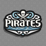 Vector logo for Pirate theme. Gray skull and crossed swords or sabers, inscription title text - pirates, caribbean buccaneers mascot with jolly roger symbol royalty free illustration