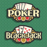 Vector logo Poker and Black Jack. Playing cards four aces for gambling game poker, chips for casino, card combination of three 7 on green seamless pattern Royalty Free Stock Image