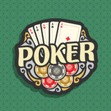 Vector logo Poker. Playing cards combination four of kind aces for gambling game poker, heap of casino chips, gamble icon on green seamless pattern background royalty free illustration