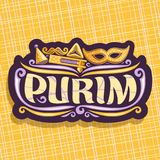 Vector logo for Purim holiday. Cut label with carnival mask and clown hat, masquerade mustache, oznei haman and noise maker toy, original brush font for word Royalty Free Stock Photos
