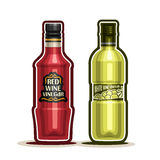 Vector logo Red and White Wine Vinegar Bottles. Container grape acetum with plastic cap, glass bottle natural wine vinegar with label,  on white background Royalty Free Stock Images