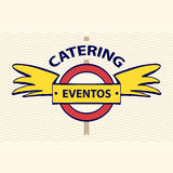 Vector logo restaurant, cafe. Quick and tasty. Fast service, food Stock Photos