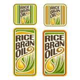 Vector logo Rice Bran Oil. Set labels for cooking rice bran oil consisting of sticker yellow oily drop, ripe grain with green leaves. Vertical banners, posters stock illustration