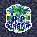 Vector logo for Rio Carnival. Poster with brazilian feather headdress, drum with sticks for samba parade, original font for text rio carnival, cut paper sign Royalty Free Stock Image