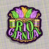 Vector logo for Rio Carnival. Poster with brazilian feather headdress, drum with sticks for samba parade, original font for text rio carnival, cut paper sign Stock Photography