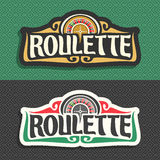 Vector logo for Roulette gamble. 2 banners with playing wheel, vintage font of lettering title text - roulette on grey pattern, icon on green background for vector illustration