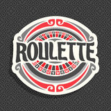Vector logo for Roulette gamble. Playing wheel with red and black numbers, vintage font of lettering title text - roulette, icon on grey seamless pattern for royalty free illustration