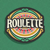 Vector logo for Roulette gamble. Playing wheel with red and black numbers, vintage font of lettering title text - roulette, icon on green seamless pattern for vector illustration