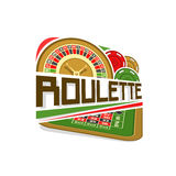Vector logo for Roulette gamble. Wheel of american roulette with double zero, colorful chips, inscription title text - roulette, icon with playing table for stock illustration