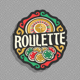 Vector logo for Roulette gamble. Wheel of american roulette with double zero, heap of playing chips, title text - roulette, icon on grey seamless pattern for stock illustration