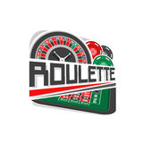 Vector logo for Roulette gamble. Wheel of european or french roulette, colorful chips, inscription title text - roulette, abstract icon with playing table for stock illustration