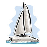 Vector logo sailing catamaran Stock Photo