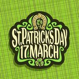 Vector logo for Saint Patricks Day. Label with original typeface for text st. patrick`s day 17 march, vintage poster with green sprout of trefoil, lucky symbol Royalty Free Stock Images