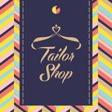 Vector logo for salon and shop tailoring.  Color background with Royalty Free Stock Image