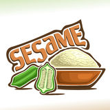 Vector logo for Sesame. Cut half of green pod with seeds and pile of white sesamum indicum in brown bowl, poster for ingredient of cookery baking with title Stock Photography