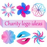 Vector logo set for charity, health, voluntary or nonprofit organization stock illustration