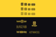 Vector logo set with hamburger royalty free illustration