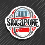 Vector logo for Singapore. Country, fridge magnet with state flag, original brush typeface for word singapore and national symbol - resort hotel Marina Bay vector illustration