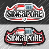 Vector logo for Singapore. Country, fridge magnet with state flag, original brush typeface for word singapore and national symbol - resort hotel Marina Bay stock illustration