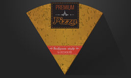 Vector logo slice of pizza and ribbon label Royalty Free Stock Photos