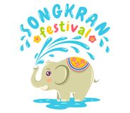 Songkran water festival. Vector logo for Songkran festival in Thailand with elephant and water. Emblem for Songkran water festival Royalty Free Stock Image