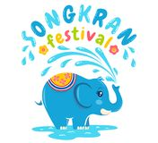 Songkran water festival. Vector logo for Songkran festival in Thailand with elephant and water. Songkran water festival Stock Photos